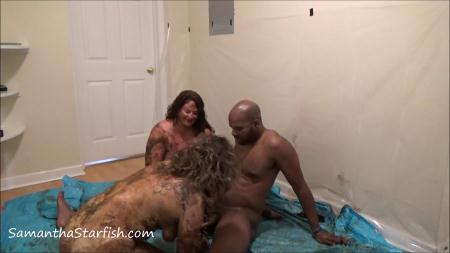 Shit Smeared Threesome - Samantha Starfish and Scat Goddes, Black Dirty Dick  - Scatology - Scat Sex, Eating, Kaviar Scat [FullHD 1080p]