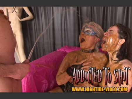 Models: Gina, Ingrid, 1 Male - ADDICTED TO SHIT - Hightide-Video - Human Toilet, Humiliation [SD]
